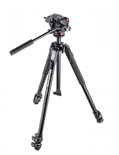 Manfrotto 190X - Kit trípode y rótula 2 Way fluida