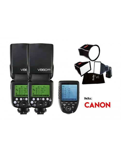 Kit Godox V860II y softbox con disparador radio Xpro para Canon