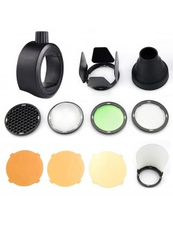 Kit Godox SR-1 con SK-R1 adaptardor y modificadores para flashes compactos