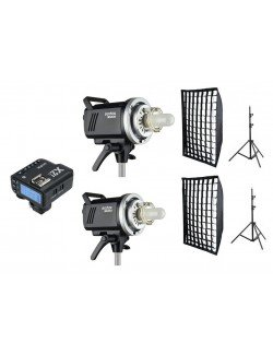 Kit 2 flashes Godox MS200 y accesorios Canon