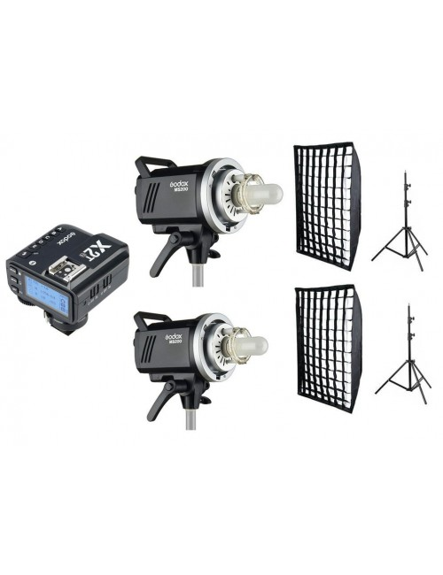 Kit 2 flashes Godox MS200 y accesorios Nikon con X2T-N