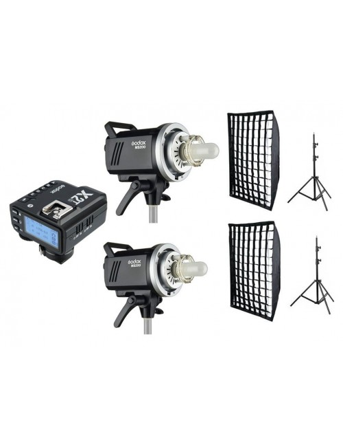 Kit 2 flashes Godox MS200 y accesorios Sony con X2T-S