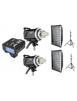 Kit 2 flashes Godox MS200 y accesorios Fuji
