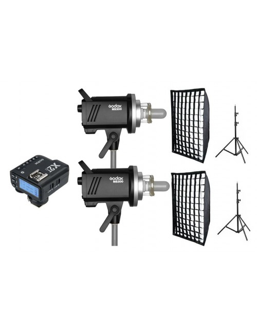 Kit 2 Godox MS300 flashes de estudio y accesorios Canon