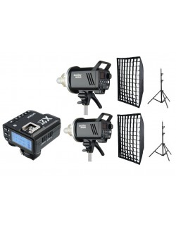 Kit 2 Godox MS300 flashes de estudio con trigger Canon con softbox