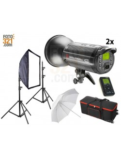 Kit 2x flashes de estudio DPsIII 400 con maleta