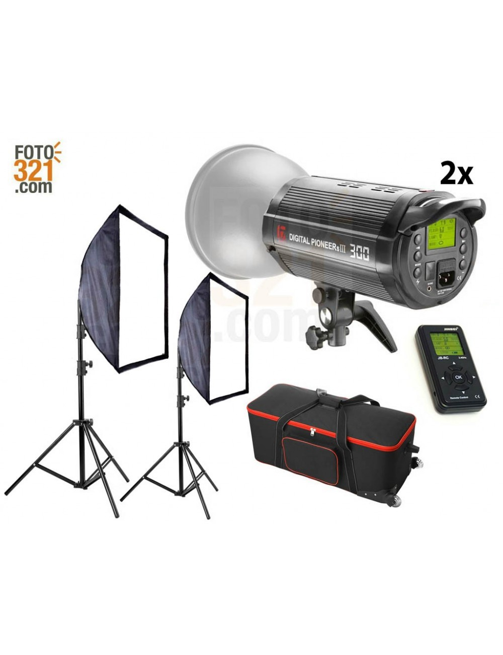Kit 2B Flashes de estudio DPsIII 300 con maleta