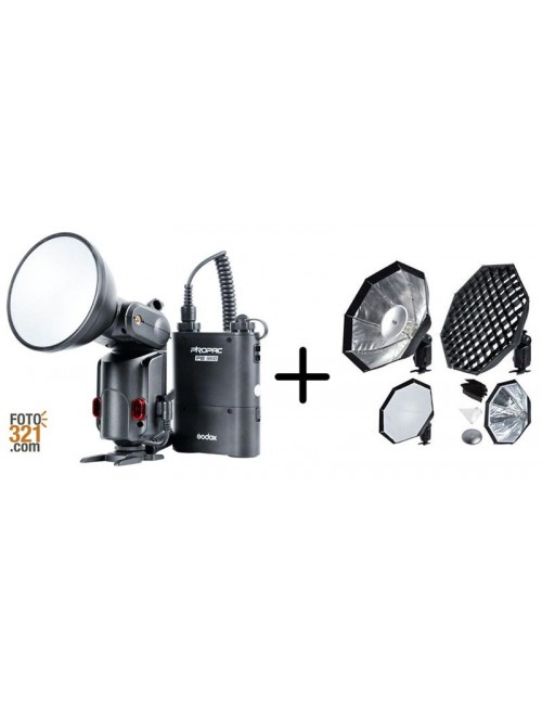 Pack de flash autónomo Godox Witstro AD180 y softbox S7