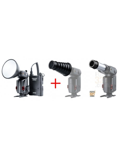 Pack Godox Witstro AD180 y Snoot Godox AD S9