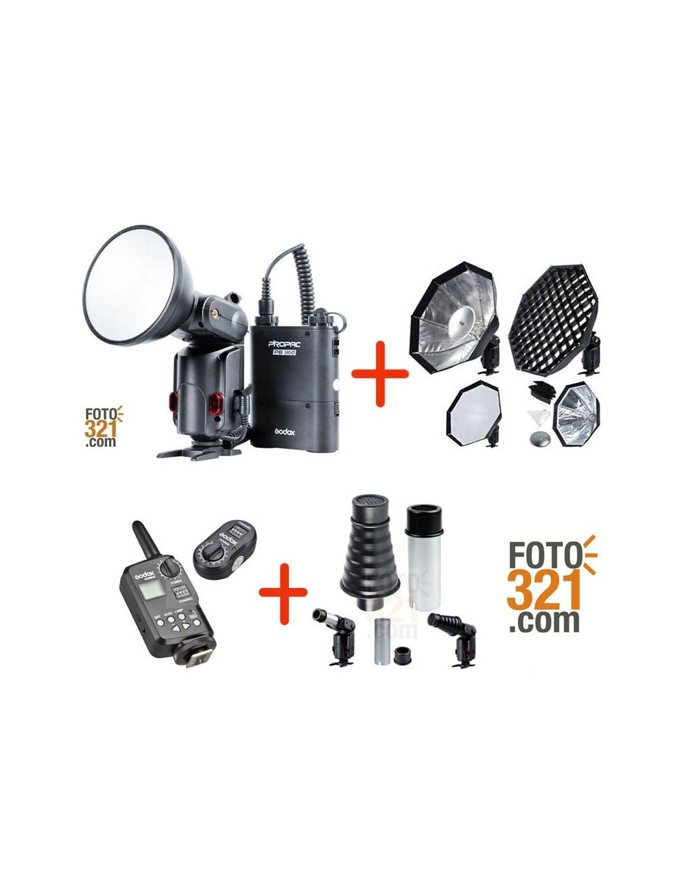 Pack Godox Witstro AD180 con softbox, snoot y triggers