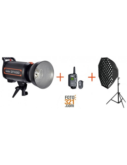 Kit flash de estudio Godox QT600 + trigger + softbox con pie