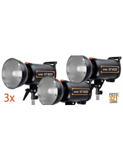 Kit 3x flashes de estudio Godox QT600