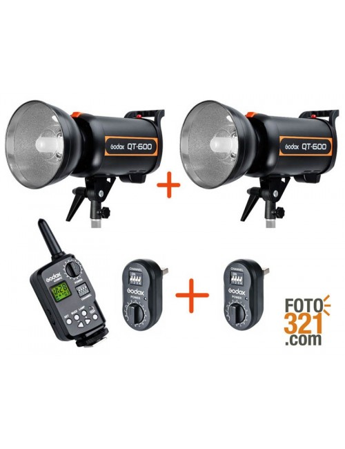 Kit 2x flashes de estudio Godox QT600 + triggers