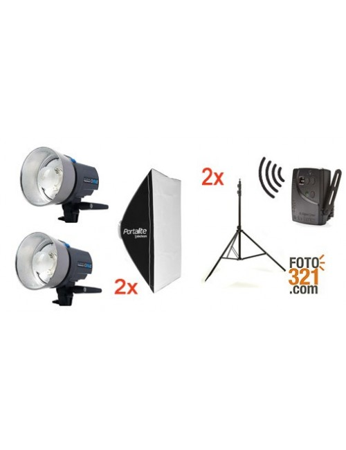 Kit 2x flashes Elinchrom D-LITE RX One con softbox