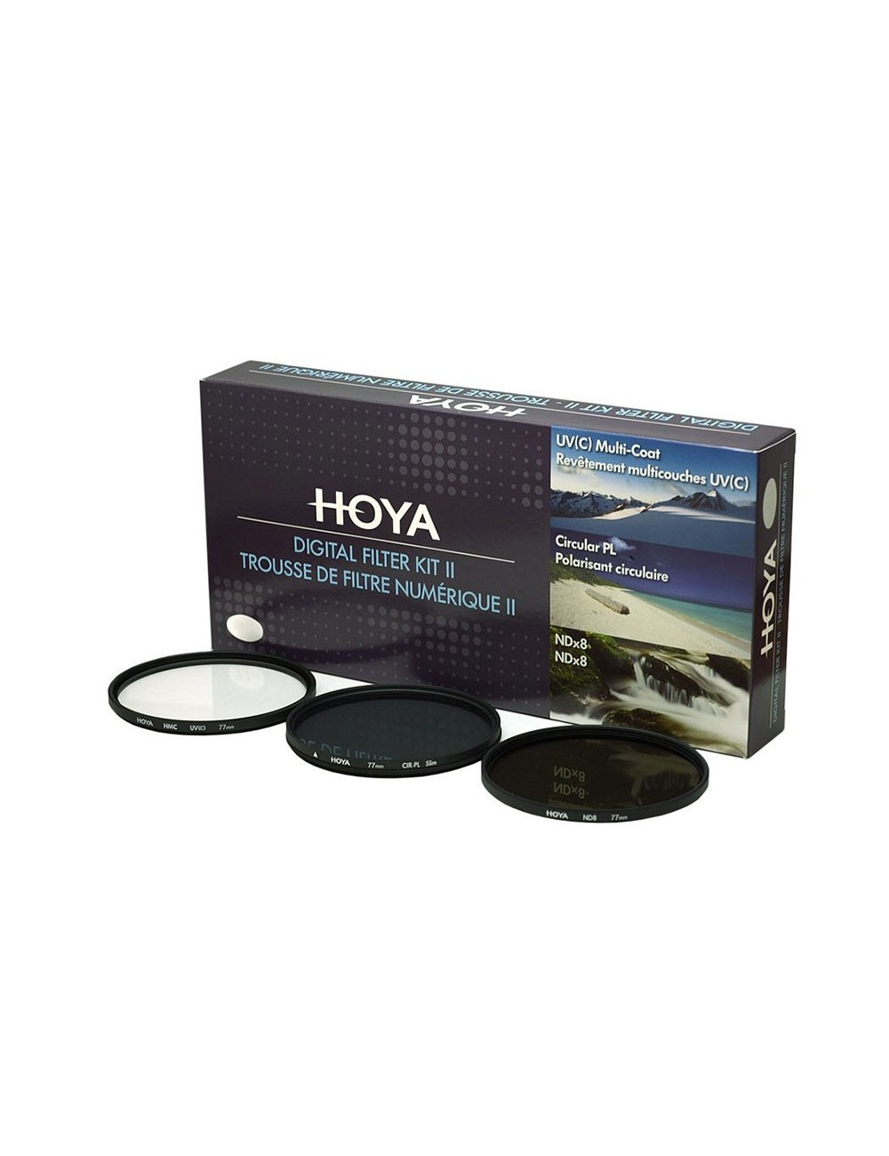Kit 3 filtros Hoya UV + CPL + ND8