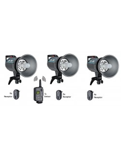 Kit 3x flashes Godox DS300 y trigger XT16