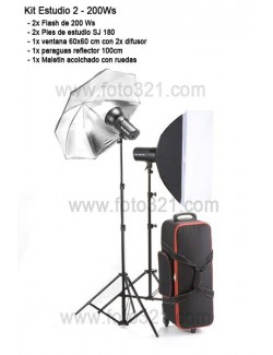 Kit 2x flashes de estudio 200 w
