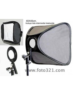 Softbox plegable 40x40cm para flash de mano compacto