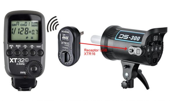 Godox DS300 flash conectado USB con trigger XT32