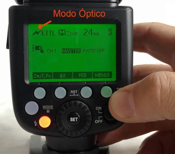 Godox V860II flash modo ttl optico